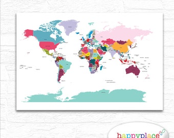 Brightly Coloured Nursery World Map Printable File In Large - The world map with labels