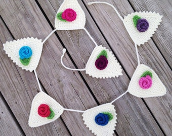 Customized bunting crochet flower garland custom bunting for Arland decoration