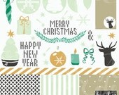 Christmas gold and mint green digital clipart and paper eps+png. Deer, ornaments, tree, candles, bow, baubles, laurels, stars clip art.