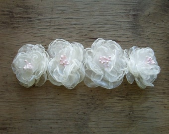 Weddings Hair Accessories Little Ivory White Organza Flower Hair Clips Bridal Pink and White Hair Flowers Bobo Wedding Flower Girl Hair Pins