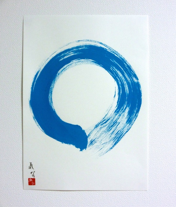 Blue Enso Original Japanese Calligraphy Wall Art By LennaArty