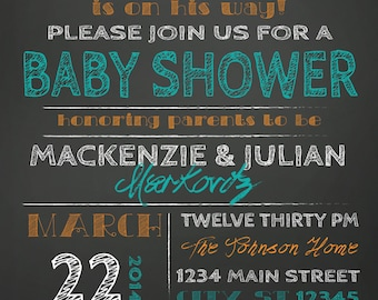 ON SALE! Couples Baby Shower invitation - chalkboard little peanut elephant