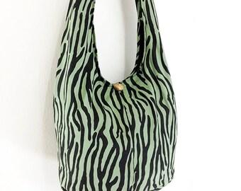 Women bag Handbags Cotton bag Hippie bag Hobo bag Boho bag Shoulder bag Sling bag Messenger bag Tote bag Crossbody bag Purse Green&Black