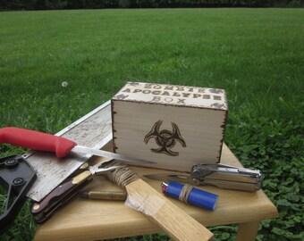 Zombie Apocalypse Box Bio hazard zombie radiation sign end of days survival box