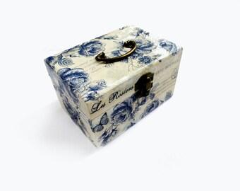 Nautical wedding jewelry box, Marine blue box, Wooden box with roses, Wedding wishes box, Jewelry case, Blue treasury box, Wedding gift box