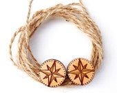 Compass nautical shipping inspired wood studs laser cut earrings