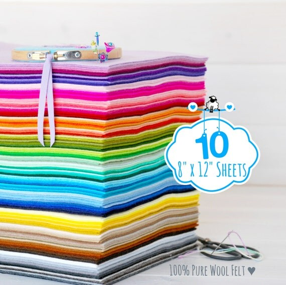 """100% Wool Felt Sheets - 10 Sheets of 8"""" X 12"""" - Merino Wool Felt - 10 felt sheets - Pure Wool Felt Sheets - You Choose your Colors"""