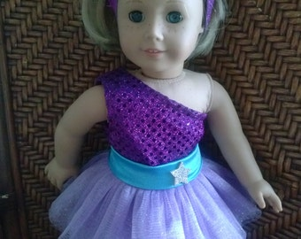 """Barbie Princess and Popstar Keira Purple Dress Outfit fits 18"""" American Girl"""