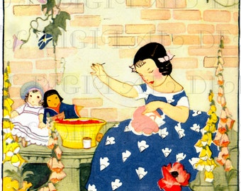 Stitching Her Dollies' CLOTHES. VINTAGE Illustration. Art Deco Garden Digital DOWNLOAD. Printable Image. Janet Laura Scott.