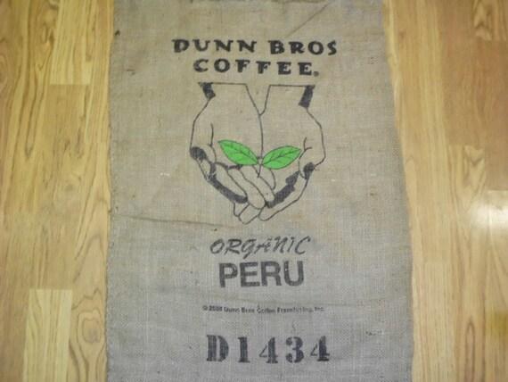 Burlap coffee bag outstreched hands peru organic dunn bros for Burlap sack decor