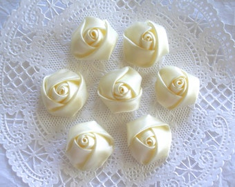 Satin Rose Rosettes, IVORY, Rolled Roses