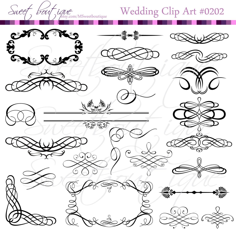 My Wedding Invite Clip Art At Clker Com: Vintage Digital Frames Calligraphy Clip Art Wedding Clipart