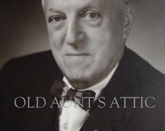 Serious Older Man, Instant Digital Download, 1950s Portrait, Bow Tie, Banker, Businessman, 1950s Businessman, Business Portrait,