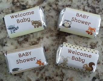 Woodland Baby Shower Mini Candy Bar Wrappers