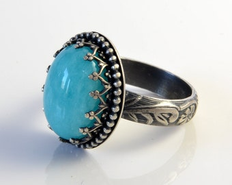 Amazonite Ring, Sterling Silver, Amazonite Stone in Crown Setting