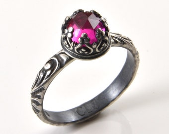 Ruby Ring in Sterling Silver, Faceted Pink Ruby gemstone, Promise Engagement Statement Ring, Ruby Gemstone Jewelry