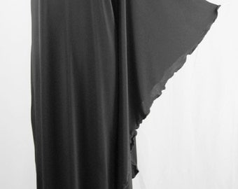Baylis & Knight STUDIO 54 MAXI Long Batwing 70's Disco Glam One Shoulder Bat Wing Dress Black Elegant (Smock)