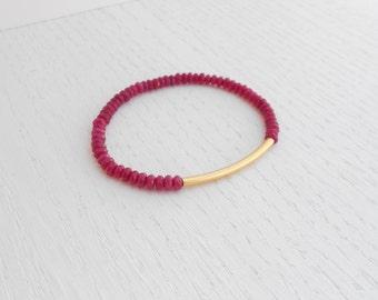 Summer SALE - Red jade bracelet, Gold tube bracelet, Gold and jade bracelet
