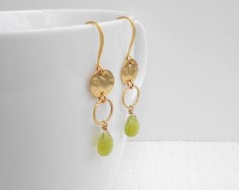 Green jade earrings, Jade gold earrings, Gold coin earrings
