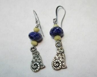 Folk Art Cat Dangle Earrings with Cobalt Blue Czech Glass Bead