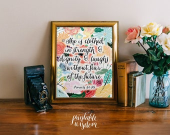 Bible Verse Printable, Scripture Print Christian wall art decor poster, typography - Proverbs 31:25 Printable Wisdom