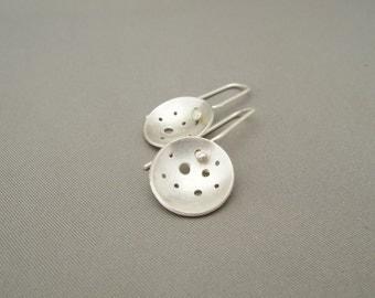 Holey Moon Radar Dish Domed Sterling Silver Dangle Earrings