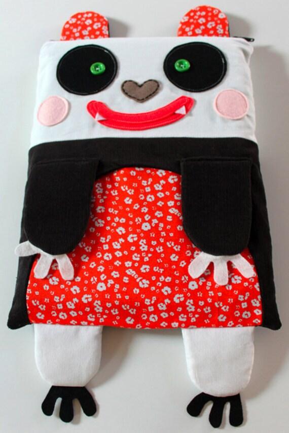 "Cute 13"" pandasleeve for your laptop/macbook, orange, inside fleece green & zipper"