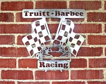 Metal Racing Checkered Flag with Kart and Name