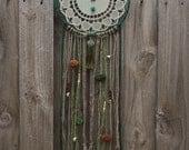 Green Silk and Turquoise Pom Pom Doily Dreamcatcher