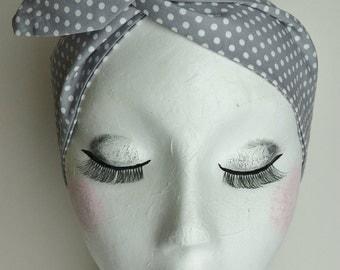 1950s Rockabilly Pin Up Grey and White Polkadot Print Wire Cotton Headband