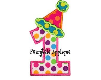 Digital Machine Embroidery Design - Party Hat Applique Numbers (1-9)