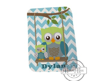 Baby Blanket Personalized Baby Blanket Chevron Owl