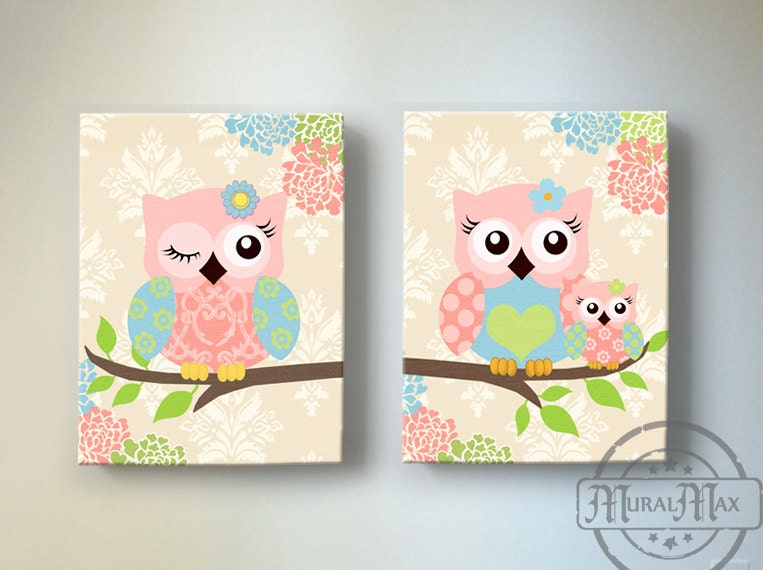 Kids wall art owl nursery baby girl owl decor owl nursery - Girl owl decor ...