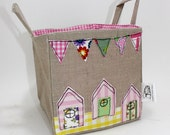 Little Beach Huts Fabric Storage Basket