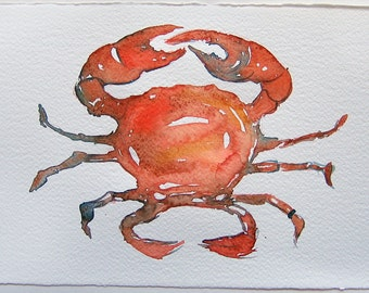 Watercolor painting original. Cancer painting. Small watercolors 7,5 by 11 inches. Home decor. Zodiac art. Orange cancer painted by hand