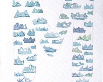 Watercolor painting of letter M. Nursery art letter m with blue mountains. Watercolor original only. Typography art. Small watercolors.