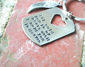 Personalized Memorial key chain, In Remembrance keychain, i will hold you in my heart till i can hold you in heaven keychain, baby memorial