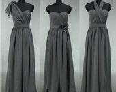 Grey Bridesmaid Dress, Long Convertible Chiffon Bridesmaid Dress, Long Prom Dress, Chiffon Wedding Dress