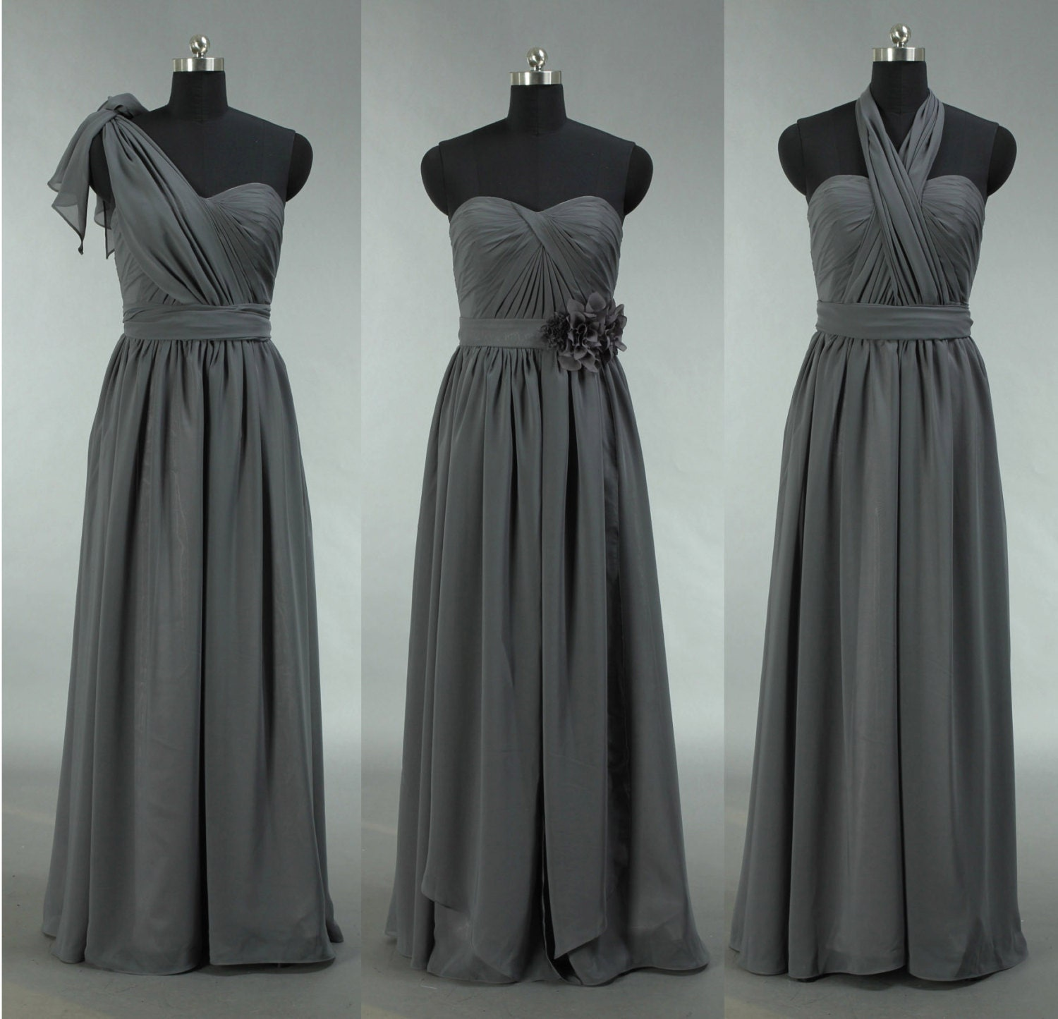 Grey Gowns Wedding: Grey Bridesmaid Dress Long Convertible Chiffon By Harsuccthing