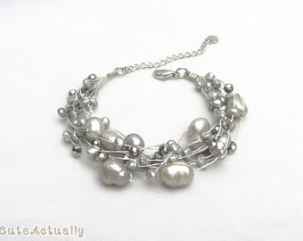 Silver gray freshwater pearl bracelet with crystal on silk thread, Multistrand bracelet, gray pearl bracelet