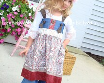 Girls Madison Knot Dress Shabby Rose Chic by IzzyBelly&Co. Sizes 18/24m ~ 7/8