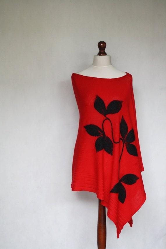 Red Poncho Women Poncho Knit Poncho Knit Shawlknit
