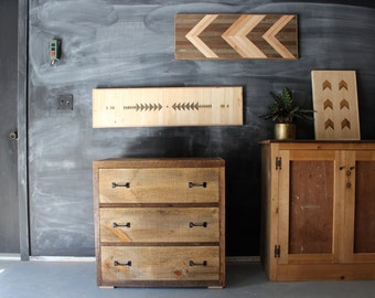 Handcrafted Reclaimed Barn Pallet Wood Dresser Nightstand Table - - Chevron Pattern