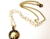 Elephant Charm Necklace, Black and White, Urban, Chain Necklace, Charm Necklace, Good Luck Necklace, Unique Gift, Ivory