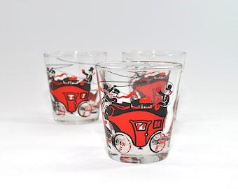 Set 3 Vintage Shot Glasses, Cocktail Glasses, Whiskey Glasses, Vintage Bar Glasses, Barware, Man Cave Decor, Stagecoach Decor