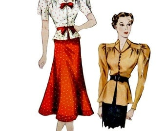 Vintage 1930's Two Piece Dress Blouse Sewing Pattern Bust 32 Optional Peplum Tulip Shaped Skirt Standing Collar Simplicity 2312 Non Printed