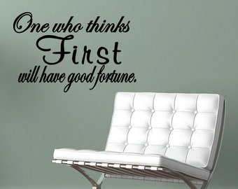 Wall Quotes One Who Thinks First Will Have Good Fortune Vinyl Wall Decal Quote Removable Home Wall Sticker Home Decor (T83)