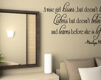 A Wise Girl Marilyn Monroe Wall Quote Wall Decal Home Decor Vinyl (32)