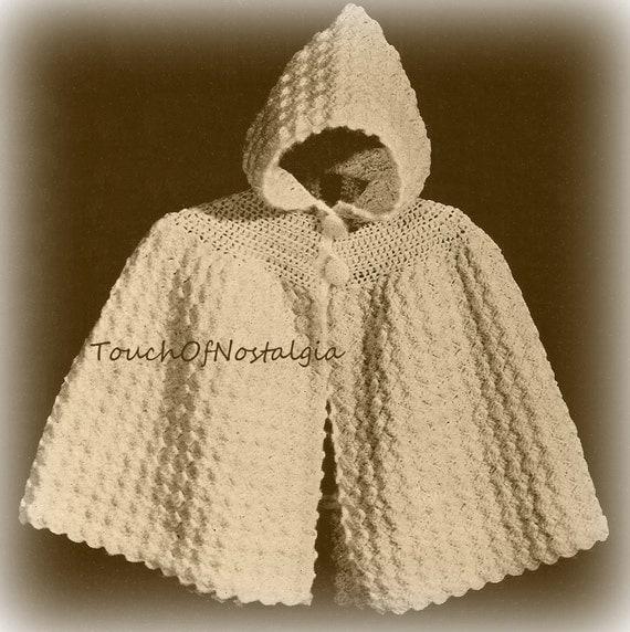 Free Crochet Pattern Baby Capelet : Crochet Baby HOODED CAPE vintage Crochet Pattern Cuddly