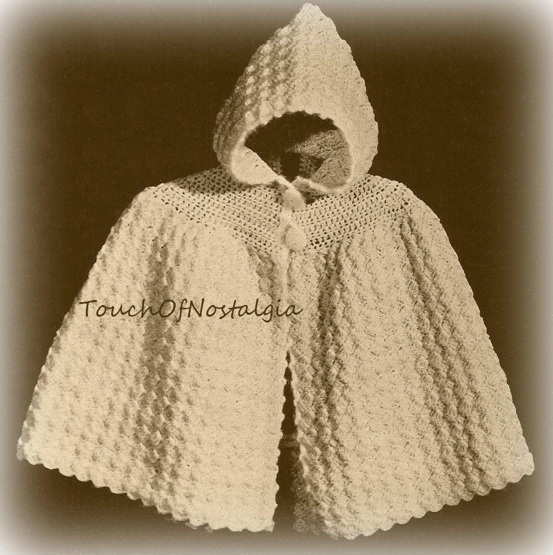 Knitting Pattern For A Little Girl s Cape : Crochet Baby HOODED CAPE vintage Crochet Pattern Cuddly